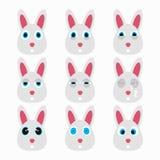 Ensemble d'émoticônes mignonnes de lapin Photographie stock