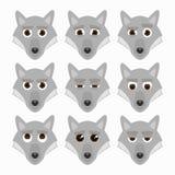 Ensemble d'émoticônes mignonnes de loup Images libres de droits