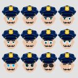Ensemble d'émoticônes mignonnes de policier Photos libres de droits