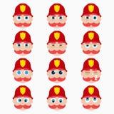 Ensemble d'émoticônes mignonnes de sapeur-pompier illustration de vecteur