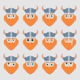 Ensemble d'émoticônes mignonnes de Viking Photo libre de droits