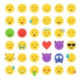 Ensemble d'émoticônes souriantes mignonnes, conception plate d'emoji Images libres de droits