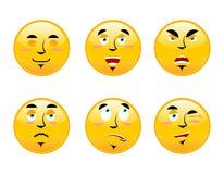 Ensemble d'émoticônes sur le fond blanc Émotions de massage facial de bande dessinée S Images stock