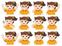Ensemble d'émotions adorables de massage facial de fille illustration libre de droits