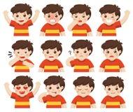 Ensemble d'émotions adorables de massage facial de garçon illustration libre de droits