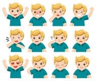 Ensemble d'émotions adorables de massage facial de garçon Visage de garçon Images stock