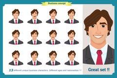 Ensemble d'émotions faciales masculines Jeune caractère d'homme d'affaires avec différentes expressions Illustration plate de vec illustration libre de droits