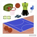 Ensemble d'équipement de basket-ball sur le fond blanc Photographie stock libre de droits
