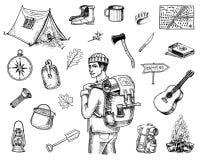 Ensemble d'équipement de camping, aventure extérieure, augmentant Homme de déplacement avec le bagage voyage de tourisme vieux ti illustration libre de droits