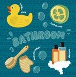 Ensemble d'équipement de salle de bains de bande dessinée Image stock