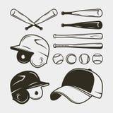 Ensemble d'équipement et de vitesse de base-ball batte, casque, chapeau, boules Illustration de vecteur illustration stock