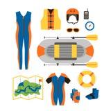 Ensemble d'équipement pour des sports et la conception plate d'activités en plein air Images stock