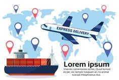 Ensemble d'étiquette de geo de logistique de fret aérien différent de la livraison troquant la distribution maritime d'emplacemen illustration stock