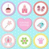 Ensemble d'étiquettes avec le thème de princesse Photo stock