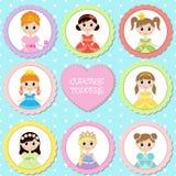 Ensemble d'étiquettes avec le thème de princesse Image libre de droits