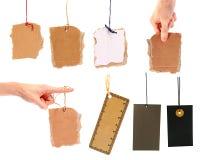 Ensemble d'étiquettes blanc de carton Images stock