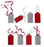 Ensemble d'étiquettes de cadeau de couleur d'isolement sur le fond blanc Photo libre de droits
