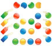 Ensemble d'étiquettes, de collants et de boutons lustrés Images libres de droits