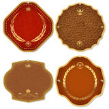 Ensemble d'étiquettes de la meilleure qualité de qualité de cuir et d'or. Image stock