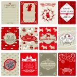 Ensemble d'étiquettes de Noël de cru illustration stock