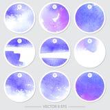 Ensemble d'étiquettes de vecteur avec des textures d'aquarelle Image libre de droits