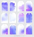 Ensemble d'étiquettes de vecteur avec des textures d'aquarelle Photo stock