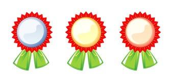 Ensemble d'étiquettes des récompenses, trois couleurs Images stock