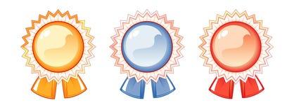 Ensemble d'étiquettes des récompenses, trois couleurs Image stock