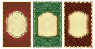 Ensemble d'étiquettes or-encadrées par cru. Images stock