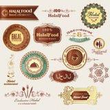 Ensemble d'étiquettes et d'éléments de nourriture de Halal Photographie stock libre de droits