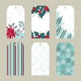 Ensemble d'étiquettes florales de Noël Image libre de droits
