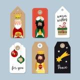Ensemble d'étiquettes mignonnes de cadeau de Noël Trois Magi Les Rois bibliques Caspar, Melchior et Balthazar Illustration de vec illustration libre de droits