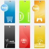 Ensemble d'étiquettes orientées colorées modernes d'achats Photographie stock