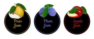 Ensemble d'étiquettes pour la confiture de fruit Image libre de droits