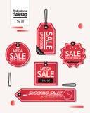 Ensemble d'étiquettes rouges de remise illustration de vecteur