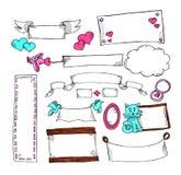 Ensemble d'étiquettes sans texte pour la carte postale et les cadeaux Jour du ` s de St Valentine Art de marqueur avec des coeurs illustration libre de droits