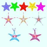 Ensemble d'étoiles de mer de différentes couleurs Illustration Stock