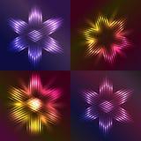 Ensemble d'étoiles de Noël formées avec la lumière Photographie stock