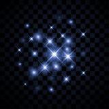 Ensemble d'étoiles rougeoyantes de vecteur avec des étincelles sur le fond Illustration Stock