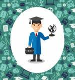 Ensemble d'étudiants dans la robe d'obtention du diplôme et de taloche à l'arrière-plan des icônes d'éducation Image stock
