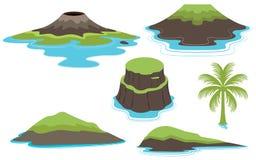 Ensemble d'îles et de Valcano illustration de vecteur