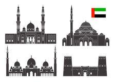 Ensemble d'Abu Dhabi Architecture d'isolement d'Abu Dhabi sur le fond blanc Illustration Stock