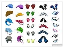 Ensemble d'accessoire de sport sur le fond blanc Image libre de droits