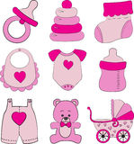Ensemble d'accessoires de bébé Photographie stock libre de droits
