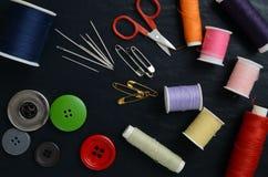 Ensemble d'accessoires de couture Photographie stock