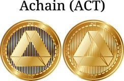 Ensemble d'ACTE d'or physique d'Achain de pièce de monnaie illustration de vecteur