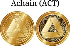 Ensemble d'ACTE d'or physique d'Achain de pièce de monnaie illustration stock