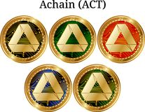 Ensemble d'ACTE d'or physique d'Achain de pièce de monnaie illustration libre de droits