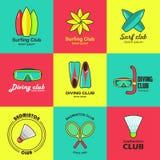 Ensemble d'activité d'été de logos plats Image libre de droits