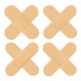 Ensemble d'adhésif, flexible, plâtre de tissu Bandage médical dans la forme différente - croix de straigh Illustration de vecteur Image stock